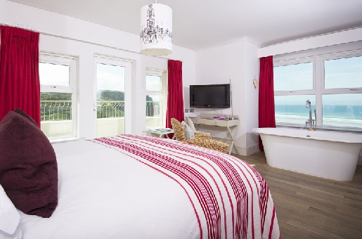 Watergate Bay Hotelzimmer mit Meerblick, Newquay, Padstow
