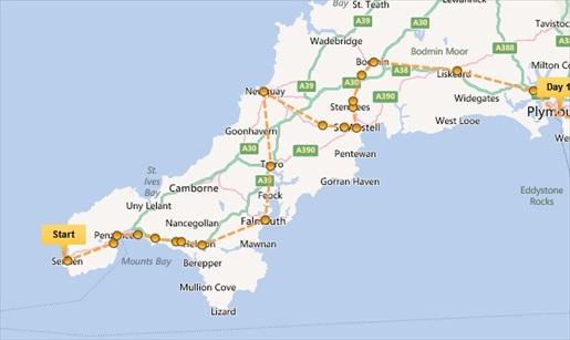 Karte Cornwall